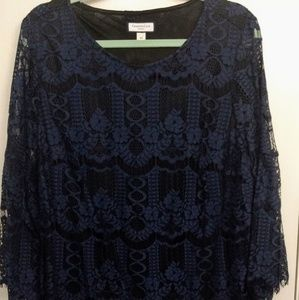 Navy blue Lacy blouse with lining and bell sleeves